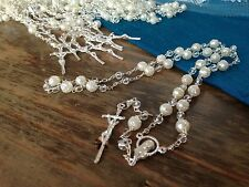 12 Baptism Favors FULL SIZE ROSARIES/ Recuerditos Para Bautismo/IVORY COLOR