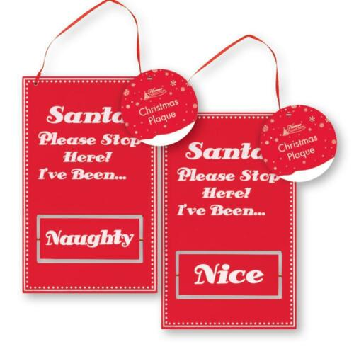 NAUGHTY DECORATION SIGN CHRISTMAS PLAQUE SANTA PLEASE STOP HERE IVE BEEN NICE
