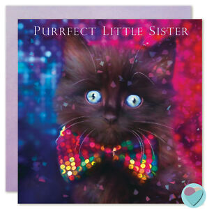 Image Is Loading Black Kitten Cat Birthday Cards SISTER NIECE Fluffy