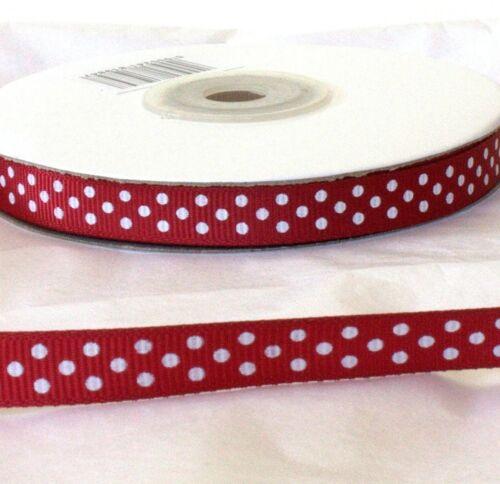 Full Reel 25m 10mm 25mm Widths Length Burgundy Grosgrain Ribbon /& Dot Spot