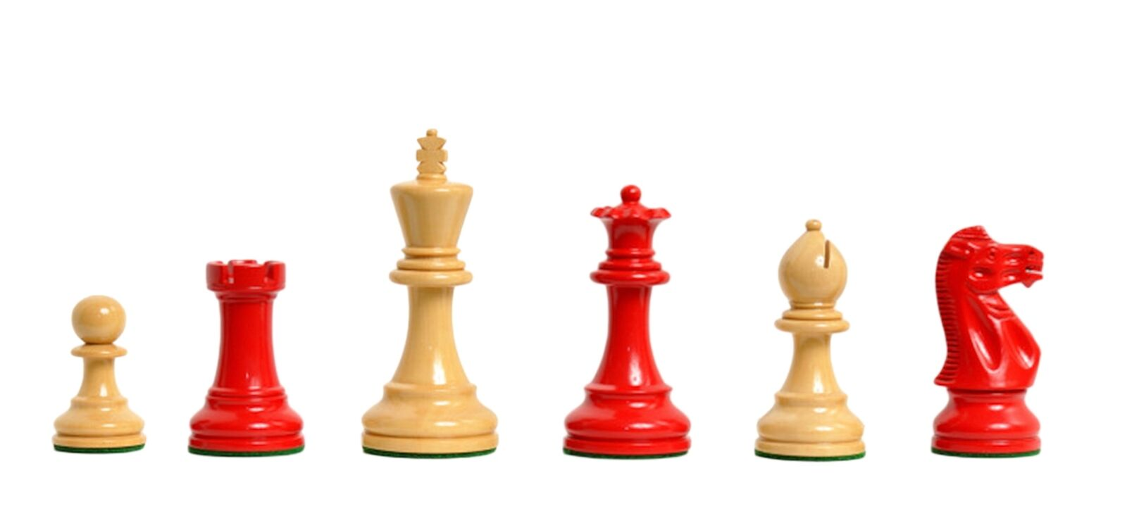 The Grandmaster II Series Chess Pieces - 4.0  King - rosso and Natural Lacquerosso