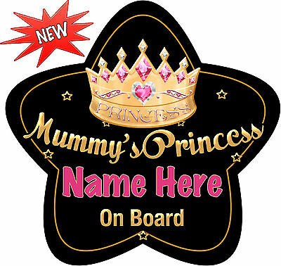 Our Prince Star Shaped Personalised Baby//Child On Board Car Sign  Blue//Gold