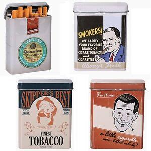 Metall-Zigarettenetui-Zigarettendose-Retro-Smoking-Zigarettenbox-9x7cm-4-Motive