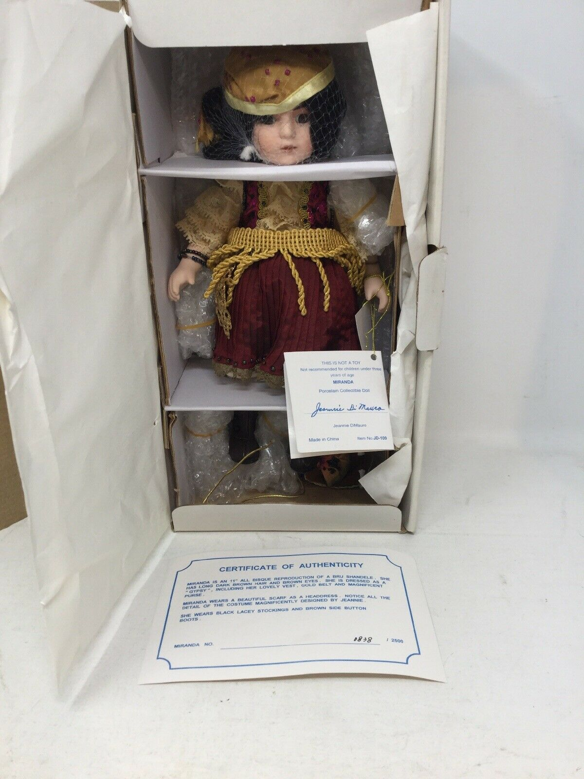 Jeannie DiMauro Miranda Gypsy Doll Complete w  COA All Clothing And Tags In Box