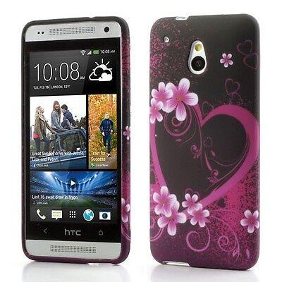 TPU-Case/Schutz-Hülle zu HTC One mini / M4 - Herz & Blumen H02 Pink Handy-Hülle