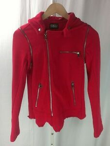Pencey-Standard-Heather-Red-Hooded-Moto-Jacket-Vest-80-Cotton-20-Poly-XS