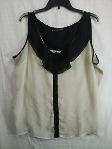 MAURICES-Women-039-s-Plus-Tan-Black-Sleeveless-Button-Up-Sheer-Dress-Top-size-3