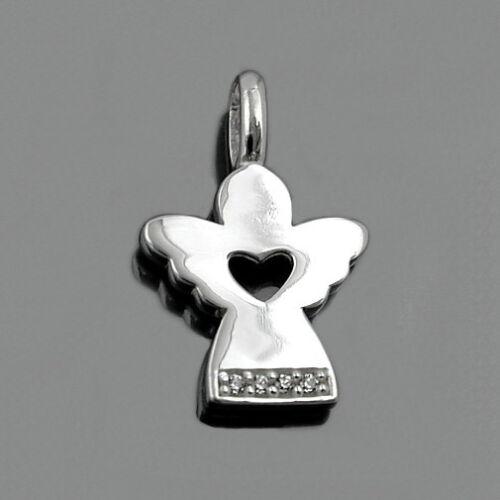 Taufe Zirkonia Schmuckset Kreuz und moderner Engel mit 38 cm Kette Silber 925