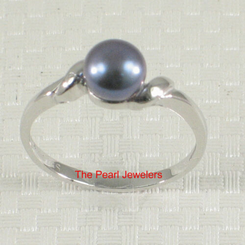 Solid Sterling Silver .925 Black Freshwater Cultured Pearl Solitaire Ring TPJ