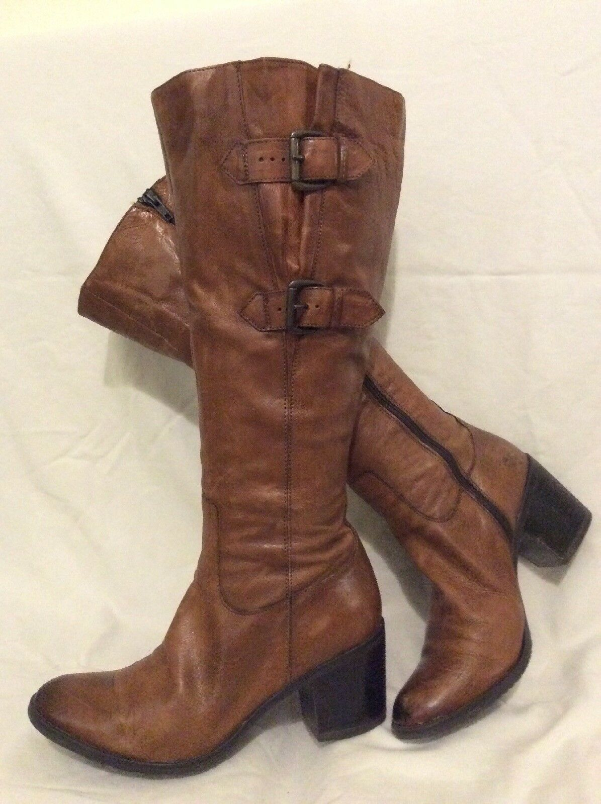 Cara Brown Knee High Leather Boots Size 38