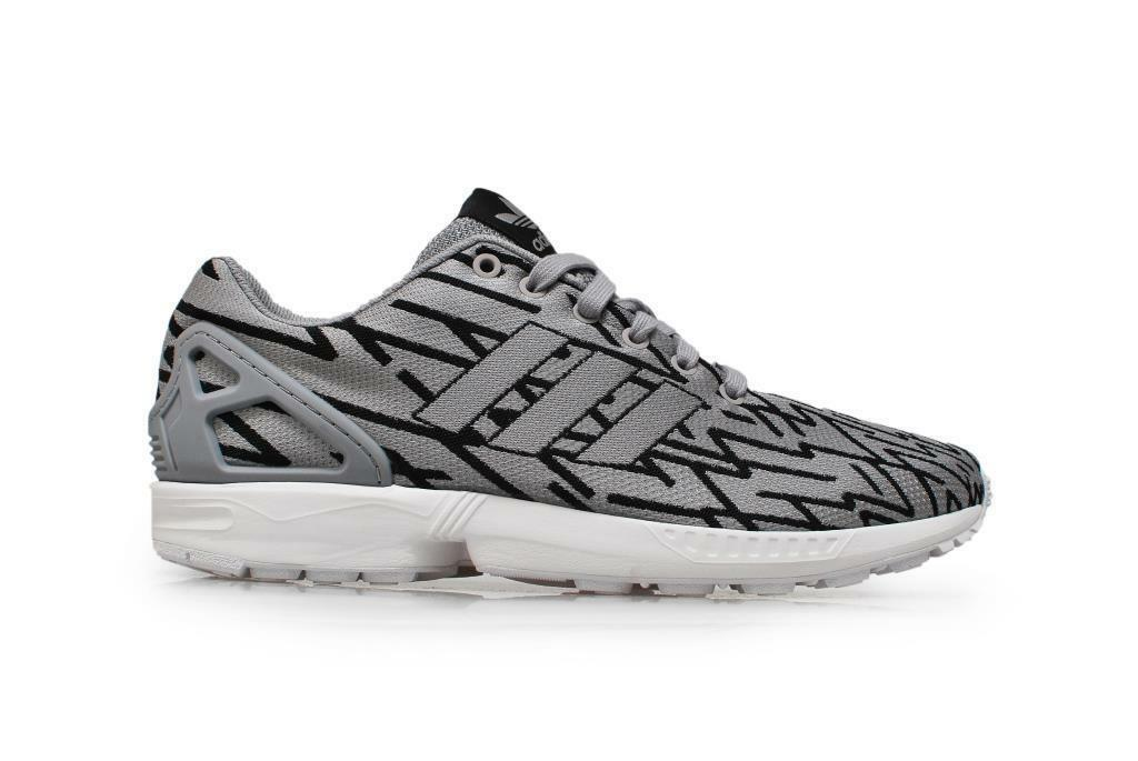 Mens ADIDAS ZX FLUX WEAVE Grey Textile Running Trainers B23600