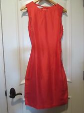MAGGY LONDON LADIES 100% SILK RED/PINK CAREER DRESS SIZE 8 GREAT CONDITION