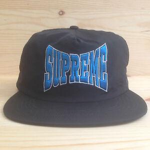 6b12484d53c SUPREME NYLON LOGO STRAP BLACK CAMP CAP FIVE PANEL HAT BOX ZULU BAR ...