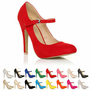 NEW-WOMENS-LADIES-HIGH-HEEL-MARY-JANE-ANKLE-STRAP-COURT-SHOES-SIZE-3-8