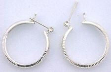 Item 7 Pair Round Diamond Cut 1 Inch Hoop Earrings 925 Pure Sterling Silver Ebs3714