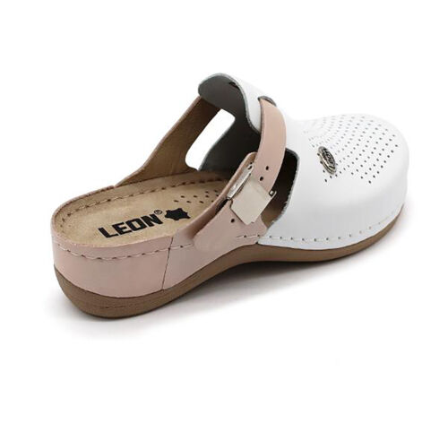 Salmon New LEON 901 Ladies Women Leather Slip On Sandals Mules Clogs Slippers