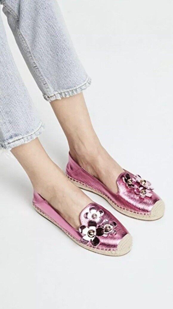 MARC JACOBS Daisy Flower Espadrille Ballet  Flat Shiny Metallic Hot Pink 8 NEW