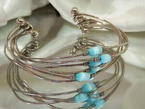 Ultra-Cool-Vintage-Silver-Tone-Glass-Bead-Cuff-Bracelet-3459jl