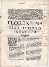 STORIA DIRITTO FLORENTINA LIQUIDATIONIS FRUCTUM 1736