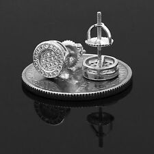 925 Sterling Silver Round Circle Flat Screen Stud Screw Back Earrings 8mm Lab Cz