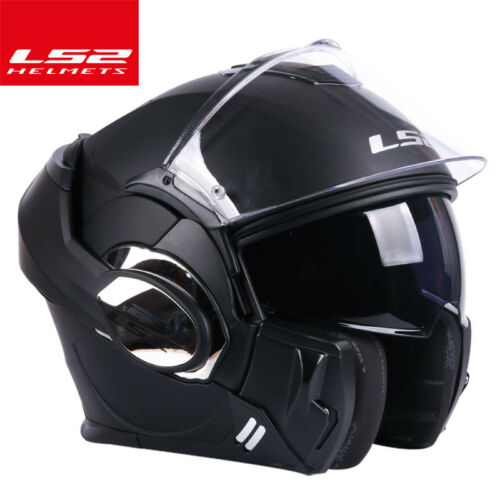 LS2 FF399 Motorcycle Chrome Full Helmet Flip Up Dual Lens Motocross Off-road ECE