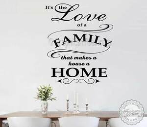 Inspirational Family Wall Sticker Quote, Love of Family House A Home ...