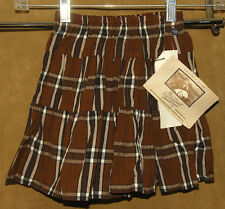 ROCKMOUNT Ranch Wear - Brown Plaid - Cotton WESTERN Skirt Girls sz S *NEW TAGS!