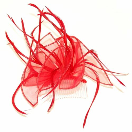 Looped Ribbon /& Feather Fascinator on Clear Comb Various Colours Wedding Races