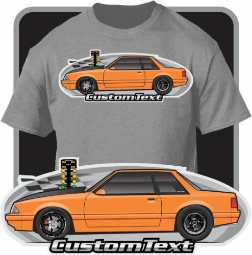 Custom Art T-Shirt 1987-90 91 92 1993 Mustang Notchback Drag racing N//A W// ford