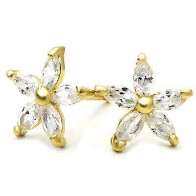 14K Yellow Gold 0.47 Cttw Marquise Cut Fuchsia Cubic Zirconia Butterfly Stud Earrings