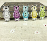 50X Mix-color Doll bear Wooden buttons Sewing scrapbooking decoration craft 41mm