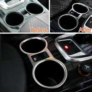 For-Peugeot-3008-2013-2015-Auto-Interior-Water-Cup-Metal-Cover-Frame-Matte-Trim