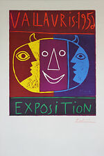 """EXPOSITION PICASSO VALLAURIS 1956"" Linogravure originale entoilée 69x103cm"
