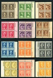 USAstamps-Unused-VF-US-Washington-Bicentennial-Plate-Block-Set-Scott-704-715-OG