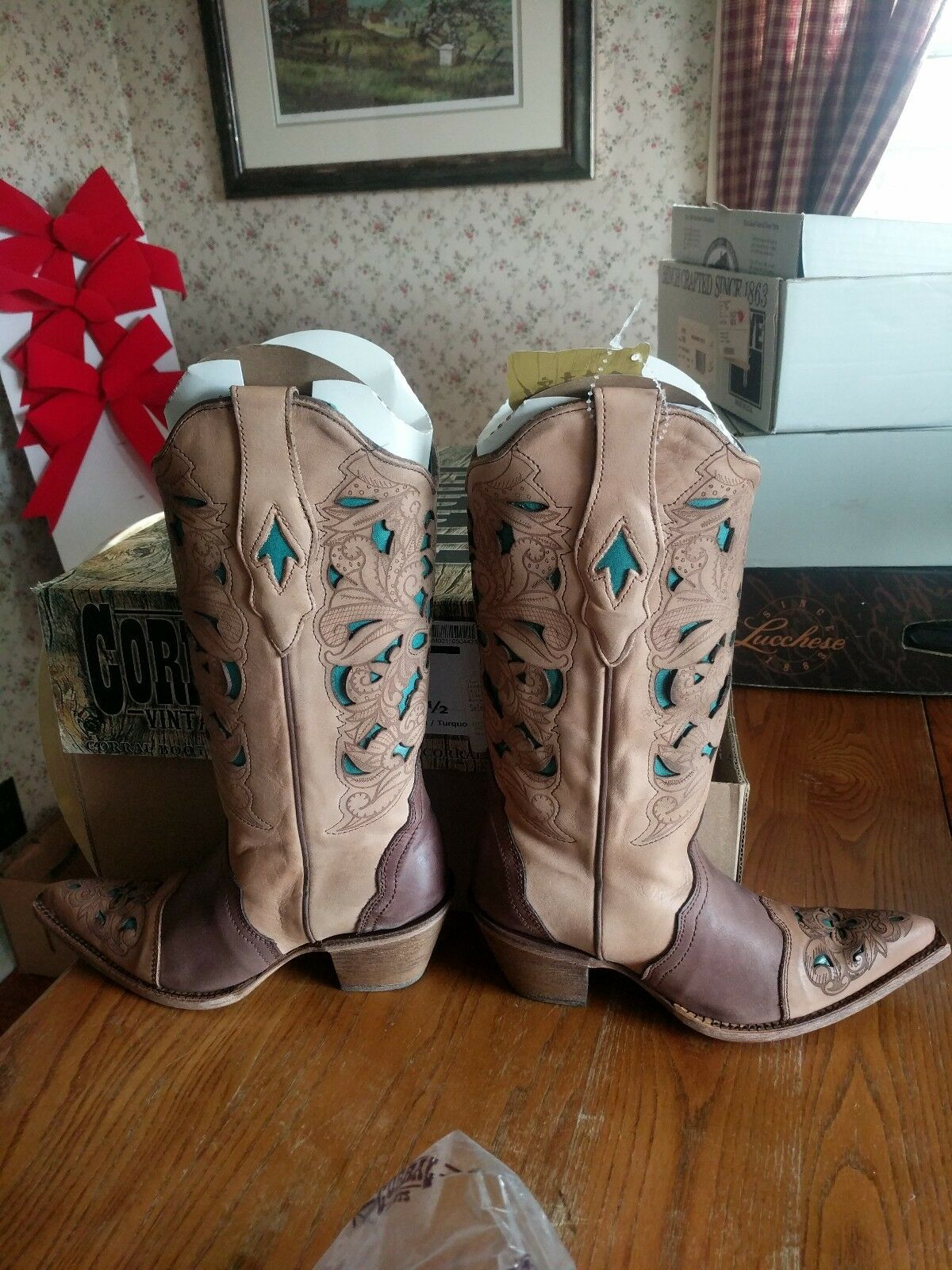 New Corral Vintage C1620 Brown Turquoise Laser Tool Cowboy Western Boots 6.5
