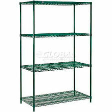 New Listingnexel Poly Green 4 Tier Wire Shelving Starter Unit 48w X 18d X 74h