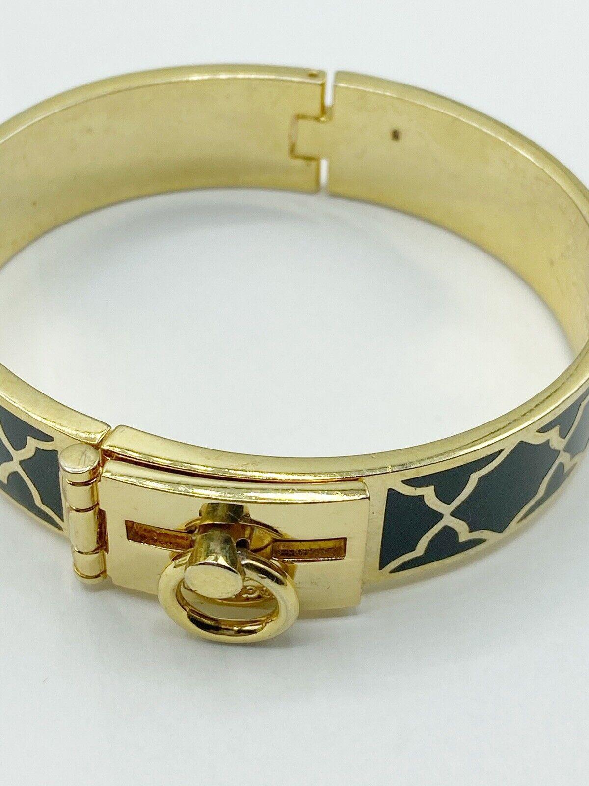 Spartina Bangle Clamper Bracelet Black And Gold Tone