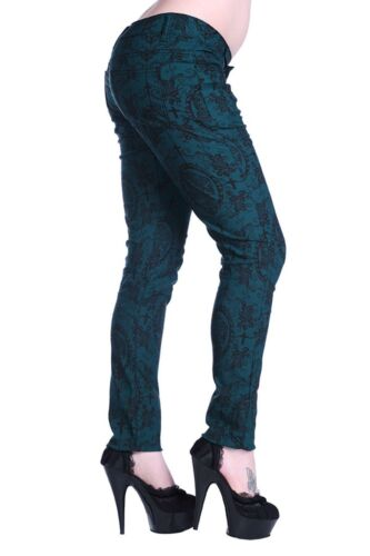 Banned Pantaloni CAMEO VERDE RED GREEN malvagia GOTHIC PUNK ROCK PANT #3152 027
