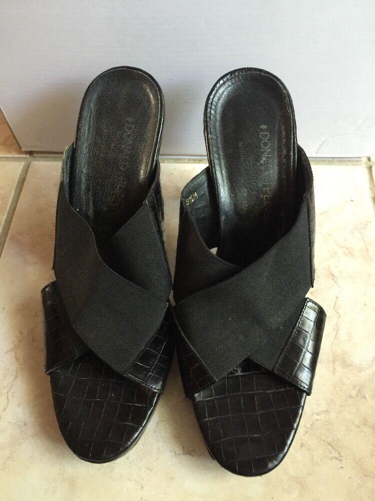 Donald J Pliner Slide Sandals nero Fabric and Leather scarpe donna 8.5 Croc