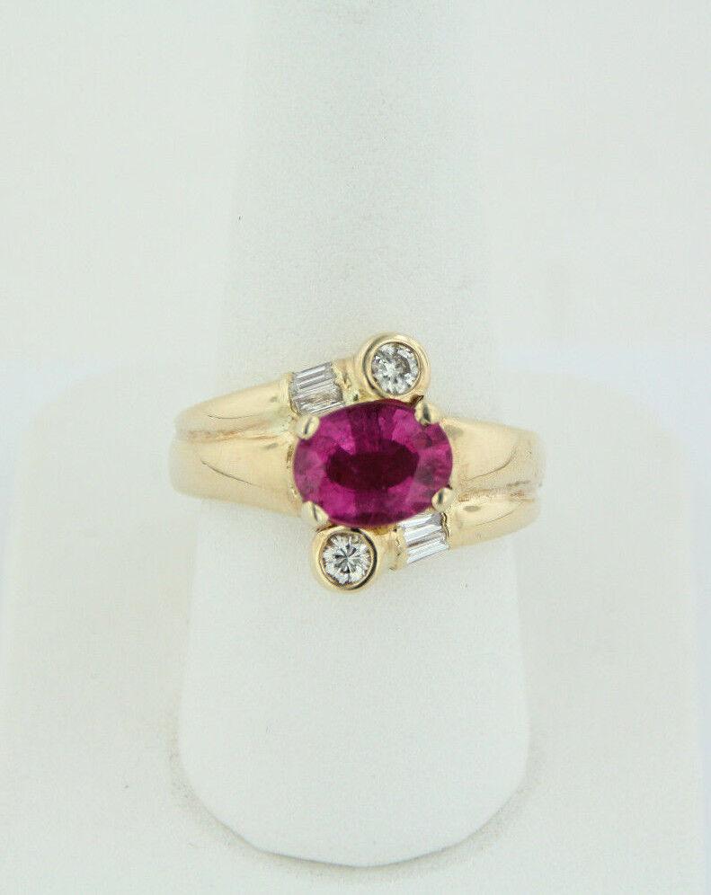 Sweet 14K Yellow gold 1.98ct Pink Oval Tourmaline & Diamond Ring - Size 7.75