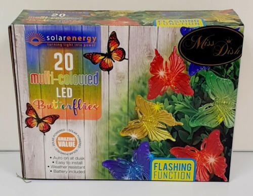 Funzione lampeggiante 20 LED Energia Solare Luci Multicolore Arcobaleno Farfalla