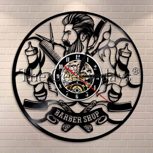Barber Shop Wall Decor Hairdresser Vinyl Record Clock Comb Scissor Razor