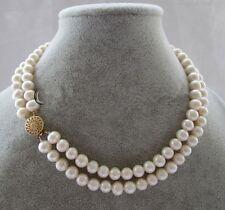 Doppelreihen 7-8mm weißes Süßwasser Perle Halskette, 17-18inch