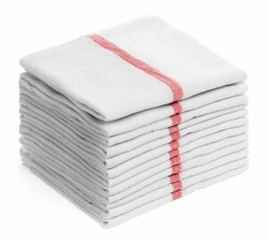 6 pack 24oz red stripe lint free commercial chefs towels herringbone 15x25