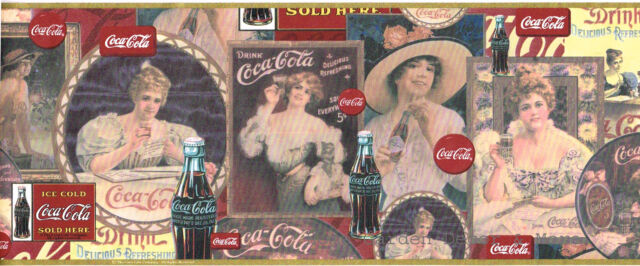 Vintage Collectible Coca Cola Coke Victorian Ladies Gold Trim Wall paper Border