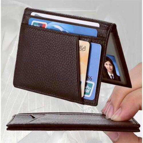 Men/'s Wallet Genuine Leather Mini Credit ID Card Holders Super Slim Anti-RFID