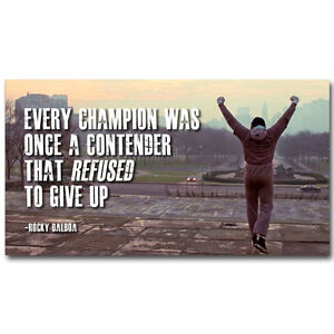 Details About Rocky Balboa Motivational Quotes Silk Fabric Poster Prints 13x24 Inch