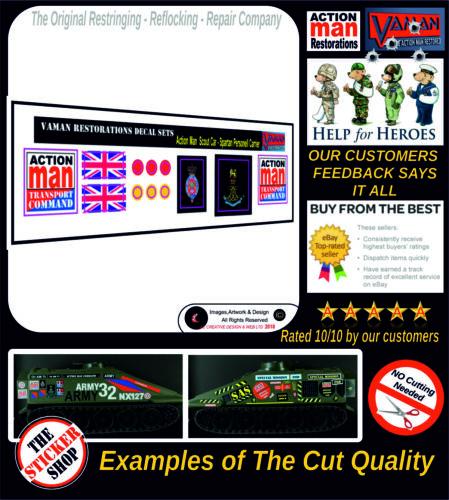 Action Man Spartan Personnel Carrier//Scout Stickers Voiture Autocollants Die Cut