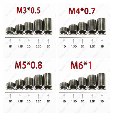 Thread Repair Insert 55pcs M4-M12 Stainless Steel SS304 Coiled Wire Helical Screw Thread Inserts
