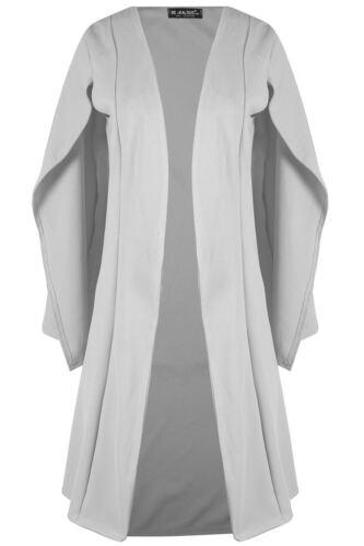 Womens Ladies Casual Midi Len Cape Shawl Collar Open Placket Blazer Coat
